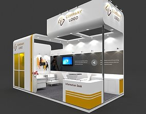 Exhibition stall 3d model 6x3 mtr 2 sides open stand