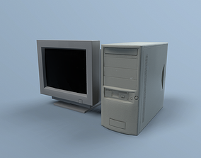 CRT monitor and PC 3D model