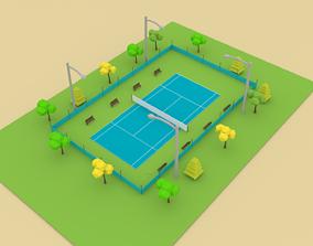 3D asset Tennis Court Cartoon