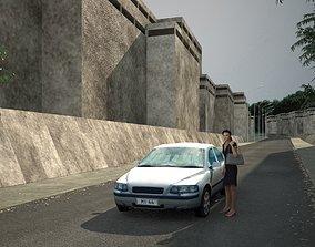 Low poly car 3D asset realtime asphalt