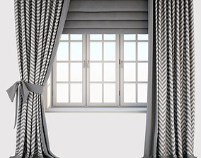 3D model Grey white curtains with zigzag pattern and a bow