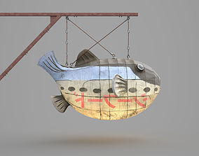 Game Ready Japanese Signs Set Fugu Fish Lantern 3D asset