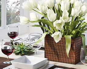 3D model Tableware with tulips
