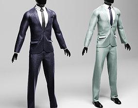 3D model Men s classic suit in two versions violet silver