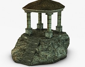 Ancient temple on a rock 3D