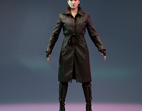 3D asset Raincoat Girl in Boots A Pose