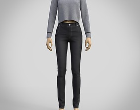 casual outfit - denim pants and sweater 3D model