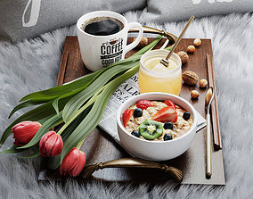 food Breakfast in bed 3D model