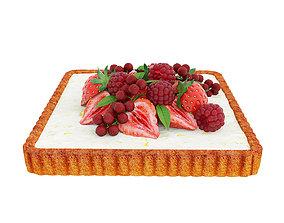 3D model bakery Berry quadratic tart