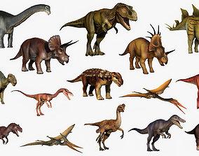 3D model cretaceous Dinosaur Set Extended