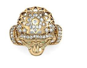 3D printable model monkey ring diamond