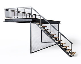 Metal stair with fencing 3D asset