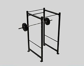 3D model Squat Rack and Loaded Olympic Barbell - Gym 1