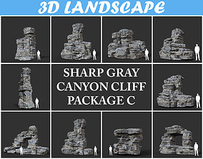Low poly Gray Cliff Rock 200915 Pack C 3D model