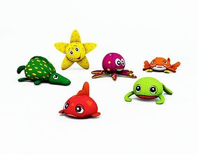 3D Kids Assorted Sea Animal Plushes