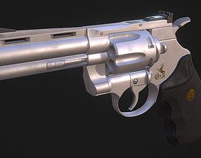 PBR Low Poly Revolver Gun - Colt Python 357 3D model