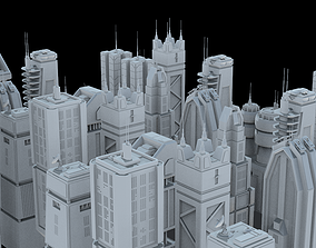 LOWPOLY SCIFI SKYSCRAPERS PACK 3D asset