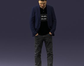 Man with number on t-shirt 0458 3D print ready