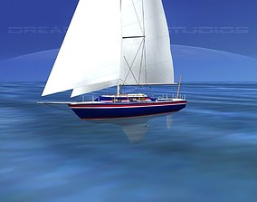 3D model 30 Foot Cutter Rigged Sloop V06