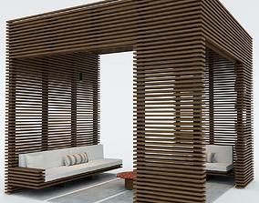 3D model exterior wooden pergola