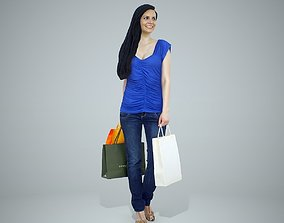 Happy Woman with Blue Shirt Shopping 3D model