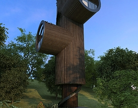 3D asset low-poly soldier guard tower