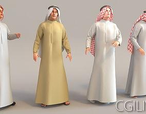 3D model 4x Arabic real cloth simulation loop animated man