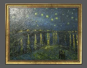 3D asset Bronze Frame with Stretcher and Van Gogh Oil 1