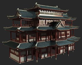 3D model Urban house construction buildings in ancient