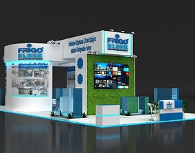 Exhibition Stand 9x20m Height 500 cm 4 Side Open 3D Model