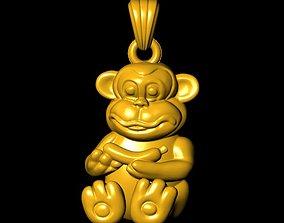 3D print model Monkey pendant silver
