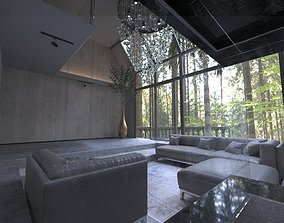 Modern Loft in forest Living room interior 3D Model 3D