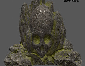 3D model skull mosy rock