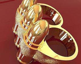 Two fingers 9mm bullet belt ring 3D print model