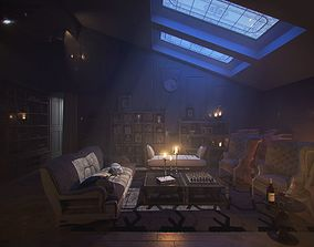 Sunset moody old acient rustic classic living 3D model 2