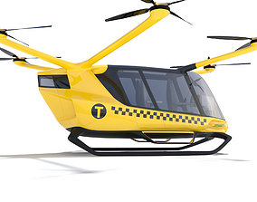 3D model Hydrogen Powered Yellow Taxi Drone with Interior
