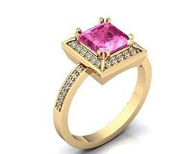 3D print model Ring Pink Stone Gold BK396