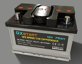 3D model PBR Car Battery - White