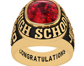 Personalized Class Ring 2 -Cushion Gem 3D print model