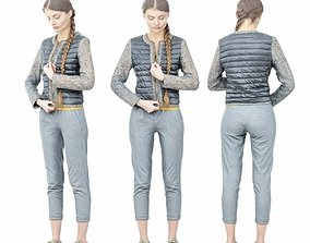 Girl Zipping up Shiny Jacket 3D model