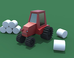 Tractor 3D model game-ready