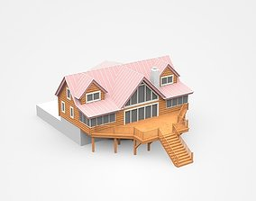 3D model Two-storey Wooden House With Large Entrance