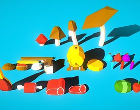 28 models HIE Game Ready Low Poly Food 3D asset