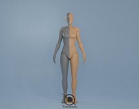 3D model Blender IK and FK Rigged Doll - Female