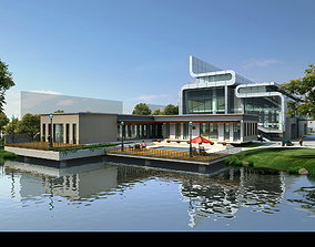 3D Architectural Building with Pond Design