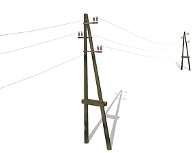 3D asset Electricity Pole 23 Weathered