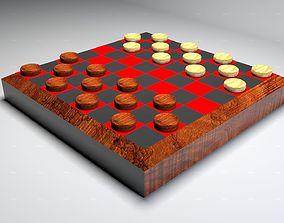 Wooden Checkers Set 3D model