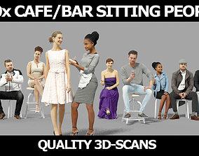 10x Sitting Woman Casual Man Cafeteria Waitress Vol02 3D