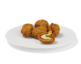 Walnuts on White Plate 3D