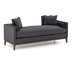 Upholstered Nailhead Double Chaise by West Elm 3D model
